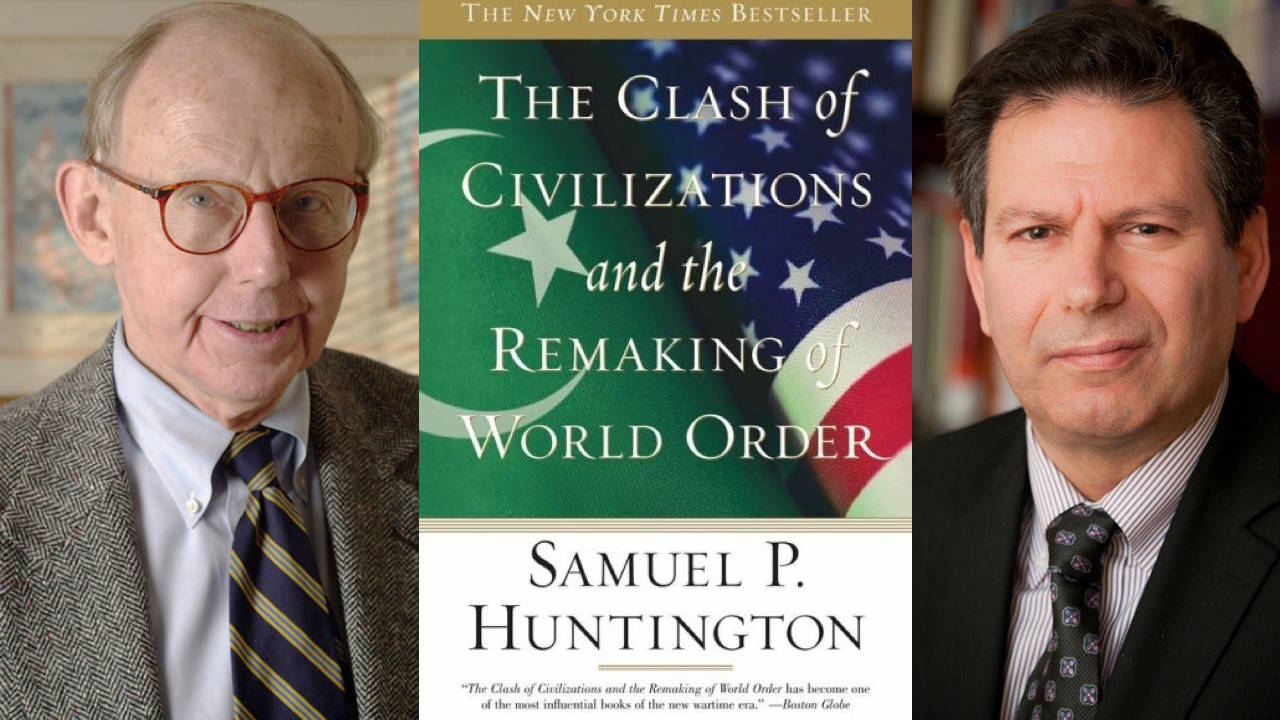 "Samuel P. Huntington (left), his book ""The Clash of Civilizations,"" and Robert D. Kaplan (right)."