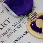 The Purple Heart medal, awarded in the name of the President to those wounded or killed while serving in the military.