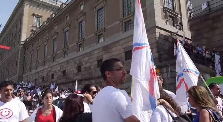 One of several manifestations in Stockholm, Sweden held in support of the Assyrian community in Syria and Iraq.
