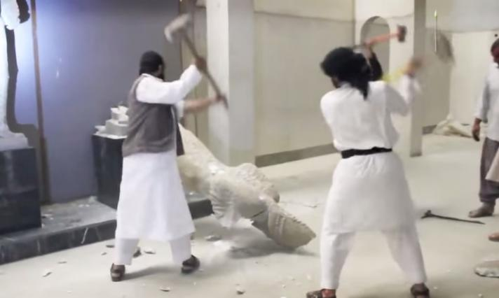 IS destroying ancient Assyrian artefacts at the museum of Mosul, Iraq.