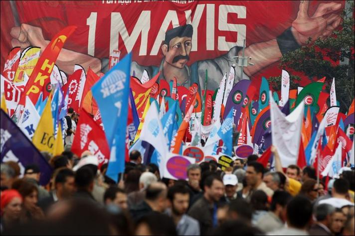 May Day demonstration in Istanbul, Turkey.