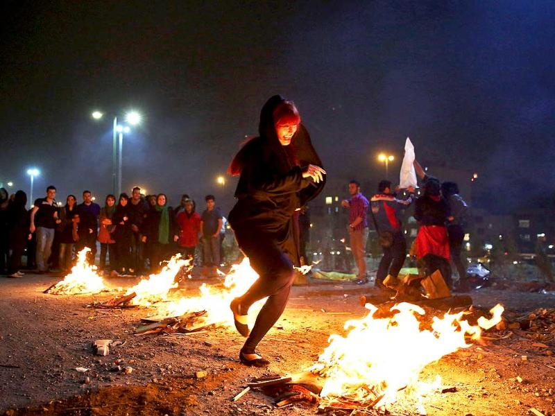 Char-shanbe-soori, the ritual of jumping of fire as observed during Nowruz.